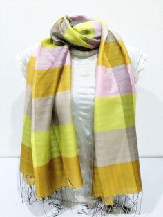 Fair Trade Hand Made Nepal Pashmina Scarf Shawl Striped Yellow Beige