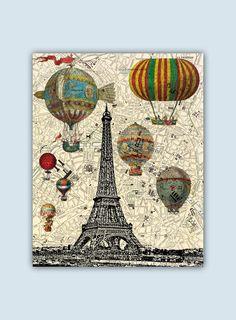 Paris Art Print Paris Decor Paris Poster Hot Air by GeographicArt
