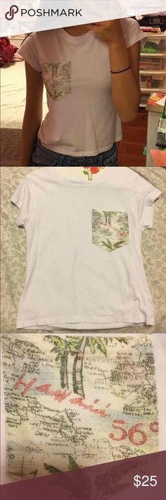 Brandy Melville crop top Map of Hawaii on the pocket. Brand new. I cut off the tag sewed onto the shirt. Cheaper on Ⓜ️ Brandy Melville Tops Tees - Short Sleeve