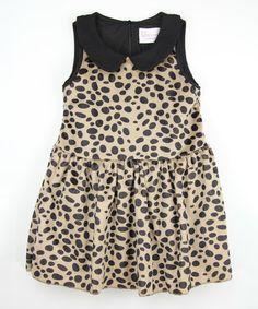 Another great find on #zulily! Black Leopard Peter Pan Collar Dress - Toddler & Girls #zulilyfinds