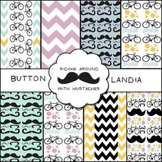 Bicycles & Mustaches - Digital Paper Pack for Scrapbooking, Cards, Backgrounds and More