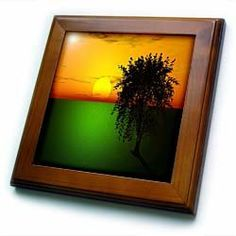"""3d Sunset with Tree - 8x8 Framed Tile by Beverly Turner Photography. $22.99. Dimensions: 8"""" H x 8"""" W x 1/2"""" D. Cherry Finish. Inset high gloss 6"""" x 6"""" ceramic tile.. Solid wood frame. Keyhole in the back of frame allows for easy hanging.. 3d Sunset with Tree Framed Tile is 8"""" x 8"""" with a 6"""" x 6"""" high gloss inset ceramic tile, surrounded by a solid wood frame with predrilled keyhole for easy wall mounting."""