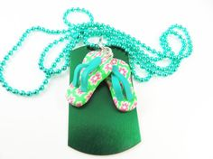 Little girls green flip flop necklace  by jewelryandmorebykat