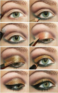 Olhos verdes maquiagem em dourado
