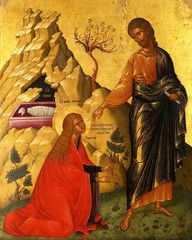 Jesus appearing to Mary Magdalene in the Garden (John 20).