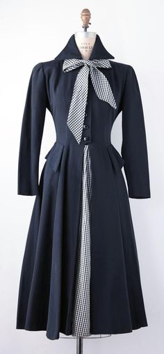 1950's Day Dress. Navy Blue ottoman with navy and white gingham taffeta tie and skirt panel. Narrow cut sleeve with full mid calf skirt. on Etsy, $225.78 AUD