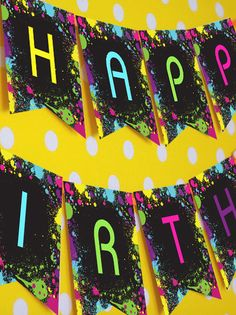 Neon Glow Party Happy Birthday Banner by SunshineParties on #Etsy...so love this! #NeonPartyBanner #NeonGlowPartyBanner