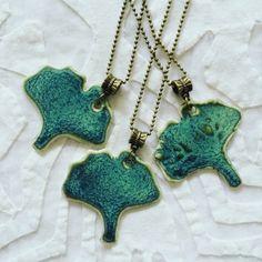 Ginkgo Leaf Jewelry Ginkgo leaf necklace teal green by Clayshapes