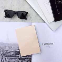 See you in Paris.✈️ #lenouveauparis#levoyageur#rayban#notebook#ivory#line#white#black#blank#stationery#seeso#simple#frenchchic