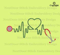 Stethoscope nurse applique heartbeat machine by NextDoorStitch