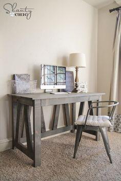 How to Build a Desk for 20 Bonus 5 Cheap DIY Desk Plans 038 Ideas Need a cheap desk for your wo Diy Furniture Plans, Furniture Projects, Rustic Furniture, Home Furniture, Desk Plans Diy, Diy Furniture Cheap, Discount Furniture, Dresser Plans, Furniture Design