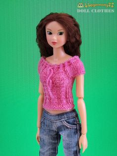 Hand knitted pink dream top for Pullip Blythe Momoko size dolls by Hegemony77
