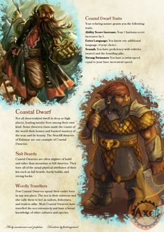 Great for Dwarven sailors and oceanic traders. Not all Dwarvenkind are mountainfolk! Homebrewed for Dungeons and Dragons Edition Artists are tagged at the bottom of the. Dungeons And Dragons Races, Dungeons And Dragons Homebrew, Dungeons And Dragons Characters, Dnd Characters, Ocean Monsters, Dnd Monsters, Dnd Dwarf, Dragons Tumblr, D D Races