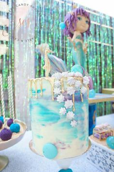 Mystical mermaids and fun adventure await in this Shiny, Shimmering Mermaid Birthday Party at Kara's Party Ideas! Kylie Birthday, 4th Birthday Parties, Girl Birthday, Birthday Ideas, Happy Birthday, Mermaid Party Decorations, Mermaid Parties, Teddy Bear Party, Mermaid Birthday Cakes