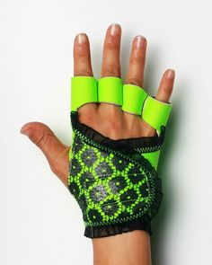 Neon green workout gloves with gunmetal lace trim to match The Robin Bra!