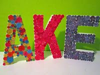 DIY Decorative Letters with single or multi-color buttons...cute!