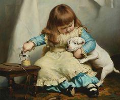Charles Burton Barber (British, 1845-1894) «Once bit, twice shy» 1885