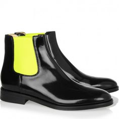 want this! pop of neon. christopher kane chelsea boots.
