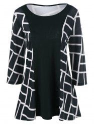 Plus Size Geometric Pattern Smock Blouse in White And Black   Sammydress.com Mobile