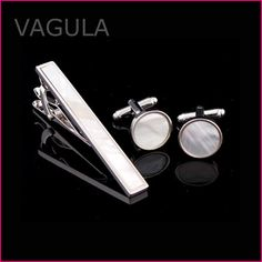 Cufflinks - Pearl Tie Bar & Round Cufflinks Set