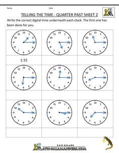 Math Worksheets For 2nd Grade 2nd Grade Math Worksheets Telling The Time Quarter Past 2