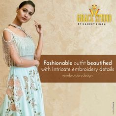 Detailed hand done embroidery work that oozes perfection and enhances the style quotient. Embroidery Designs, Two Piece Skirt Set, Ootd, Street Style, Photo And Video, Studio, Formal Dresses, Detail, Skirts