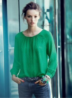 Love my green chiffon dot blouse! Love the idea of pairing with leopard belt...
