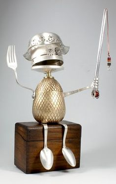 I totally love these creations of Delaware-based middle school teacher Brian Marhsall. They are called 'adoptabots' - sculptures made from discarded daily objects. They kinda remind me of those mechanical aliens from the movie 'Batteries Not Included'. Aren't they just too adorable?