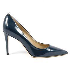 Versace 1969 Italia Womens Pump Dark Blue E Mina Stiletto Pumps, Pumps Heels, High Heels, Leather Heels, Calf Leather, Badass Style, Bag Accessories, Dark Blue, Versace