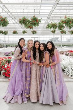 Photographed in a greenhouse. Photographed in a greenhouse. – Purple indian we - Indian Wedding Bridesmaids, Indian Bridesmaid Dresses, Bridesmaid Saree, Desi Wedding Dresses, Indian Bridal Outfits, Bridesmaid Outfit, Purple Wedding, Indian Weddings, Indian Bridal Party
