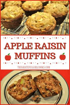 Apple Raisin Muffins / The Grateful Girl Cooks! These moist and delicious muffins, packed with lots of fresh apples, raisins, cinnamon and pecans, are an easy to make treat for breakfast or brunch!