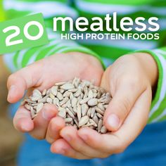 We've ranked the best meatless high protein foods in terms of their protein content. You don't have to go vegetarian or vegan to reap the benefits often attribu High Protein Vegetarian Recipes, Going Vegetarian, Protein Foods, Vegan Vegetarian, Healthy Snacks, Vegan Recipes, Healthy Eating, Protein Sources For Vegetarians, Vegetarian Times
