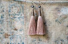 Tassel Earrings, Beige Silk Tassels, Extra Long, Boho Jewelry, Faceted Pearls, Pastel Colors by vintagefables on Etsy https://www.etsy.com/uk/listing/271586457/tassel-earrings-beige-silk-tassels-extra