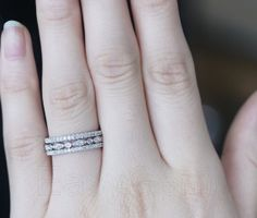 Stackable French Pave White Diamonds 14K White Gold Wedding Bands 3-Ring Set on Etsy, $699.00