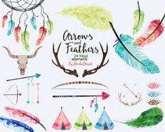 Tribal Cliparts Watercolor Clip arts Native Clip Arts, Feathers Clipart Bull Skull, Teepee Printable Wolf, Dreamcatcher Commercial Use Teacher Classroom Decorations, Arrow Art, Bull Skulls, Teacher Planner, Digital Papers, Dreamcatchers, Smash Book, 1st Birthday Parties, Rock Painting