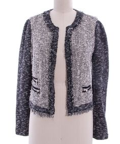 REBECCA TAYLOR Black White Tweed Zipper Pocket Unlined Jacket Sz 2 – THE WRLD