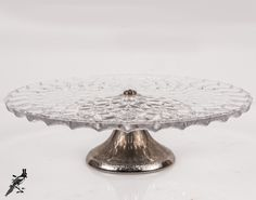 TheCordialMagpie on Etsy Vintage English Glass and Silverplate / Silver Plate Cake Stand - Silverplated & Vintage Glass Sunburst Cake Stand with Silver Plated / Silverplated ...