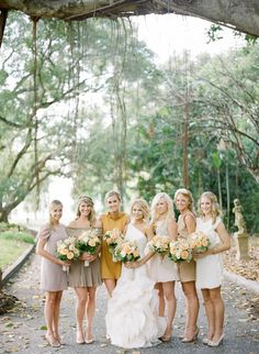 I love the different nude tones for bridesmaid and the mustard yellow for the maid of honor.