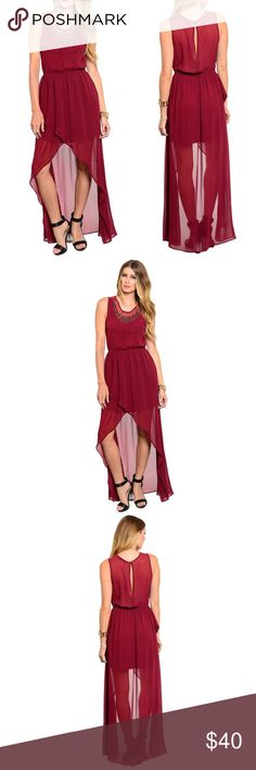 Embellished Burgundy Hi Lo Maxi Such a gorgeous dress! Can be worn to dinner, formal events or even girl's night. With this beautiful color you're sure to turn heads💃🏻💁🏼 [BUNDLE] for 15% off!  ❌No trades, PayPal, Holds 📷Instagram: @lovelionessie Dresses High Low