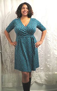 Modern wrap dress sewing pattern, designed for curves. Available in sizes 12 - 28 and cup sizes C - H.