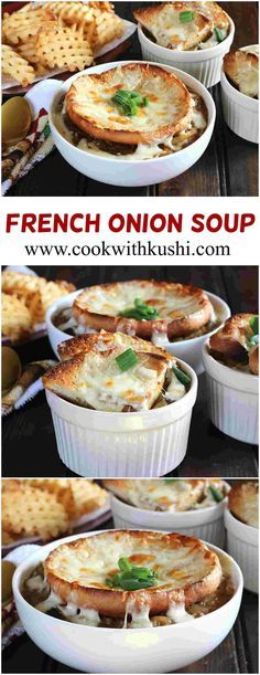 French onion soup is a rich and classic soup prepared using melt in mouth caramelized onions and topped with cheesy and crunchy bread slices or croutons. This soup makes a hearty meal in itself.  #christmas #Holiday #dinner #soup #Lunch #holiday #cheese #recipe #bhgfood #buzzfeedfood #Feedfeed