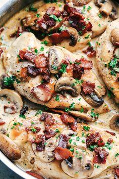 Creamy Balsamic Mushroom Bacon Chicken