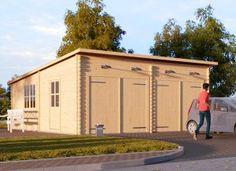 Garage en bois à toit plat 600x600 44mm, 36m² DOUBLE