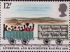 150th Anniversary of Liverpool and Manchester Railway 12p Stamp (1980) Third Class Carriage and Sheep truck crossing Chat Moss