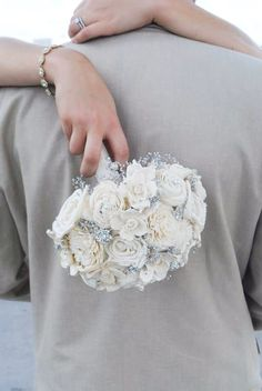 Handmade Vintage Wedding Bouquet-  Sola Flower, Button Bouquet, Bridal and Bridesmaid Bouquet, Outdoor and Garden Wedding, Rustic Wedding by WilliamandWillow on Etsy https://www.etsy.com/listing/162510649/handmade-vintage-wedding-bouquet-sola
