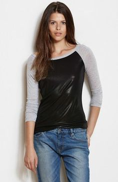 Foil Coated Baseball Tee - Tee Shirts - Womens - Armani Exchange