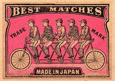 1910 Japanese Tandem Bicycle Matchbox Label Poster by Retro Graphics. All posters are professionally printed, packaged, and shipped within 3 - 4 business days. Choose from multiple sizes and hundreds of frame and mat options. Vintage Packaging, Vintage Labels, Vintage Ephemera, Vintage Ads, Vintage Images, Vintage Prints, Vintage Designs, Design Packaging, Vintage Type