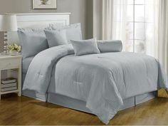 Chezmoi Collection 7-pieces Hotel Dobby Stripe Comforter Set, Queen, Bluish Gray
