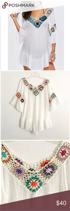NWT Sweet & Sassy White Embroidered Gauze Cover Up JUST IN! This is way more beautiful than the pictures show! It is a show stopper! I get compliments on mine whenever I wear it! The colors are gorgeous! I also have worn mine as a top with skinny jeans! Bust 17.5 Length 29 inches Boutique Swim Coverups