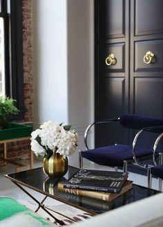 Rue Magazine - living rooms - Worlds Away Conrad Coffee Table, black cabinets, black paneled cabinets, ring pulls, brass ring pulls, midnigh...